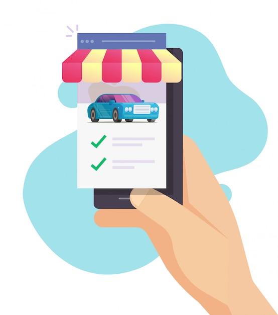 Wypożyczalnia Samochodów - Sklep Z Telefonami Komórkowymi Z Możliwością Porównywania Samochodów I Wyborem Funkcji Sklepu Internetowego Premium Wektorów