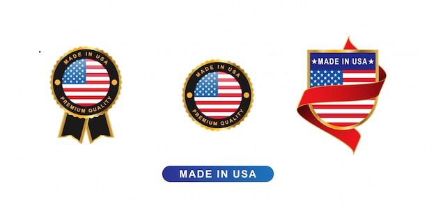 Wyprodukowano W Usa Bagde I Godło Premium Wektorów