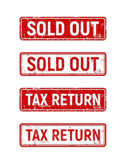 Wyprzedany zestaw znaczków, czerwone pudełko wolne od podatku na grunge pieczątka. Premium Wektorów