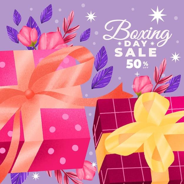 Wyprzedaż Akwareli Na Drugi Dzień świąt Bożego Narodzenia Darmowych Wektorów