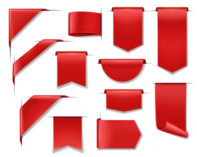 Wyprzedaż Banerów, Etykiet, Wstążek Z Cenami I Naklejek, Czerwone Zniżki Oferują Odznaki. Banery Sprzedażowe I Puste Etykiety Wstążkowe, Kąciki Internetowe Do Promocji Produktów I Oferty Cenowe Sklepów Internetowych Premium Wektorów
