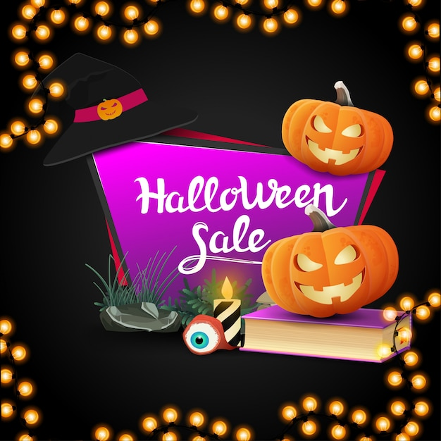 Wyprzedaż Na Halloween, Różowy Geometryczny Sztandar W Kształcie Czworokątnego Ostrego Talerza Z Książką Zaklęć I Dyniowym Jackiem Premium Wektorów