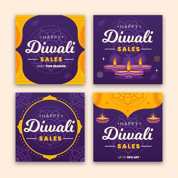 Wyprzedaż Postów Na Instagramie Diwali Festival Darmowych Wektorów