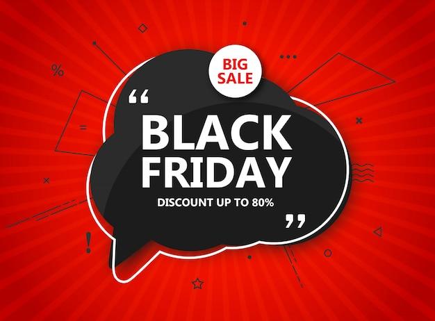 Wyprzedaż w czarny piątek, plakat zakupowy. sezonowy rabat transparent - czarny dymek i napis na promieniowym czerwonym tle. szablon projektu na zakupy reklamowe, ulotki, zamknięcie w święto dziękczynienia Premium Wektorów