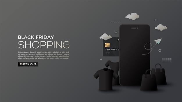 Wyprzedaż W Czarny Piątek Z Niuansami Zakupów Online W Nocy Premium Wektorów