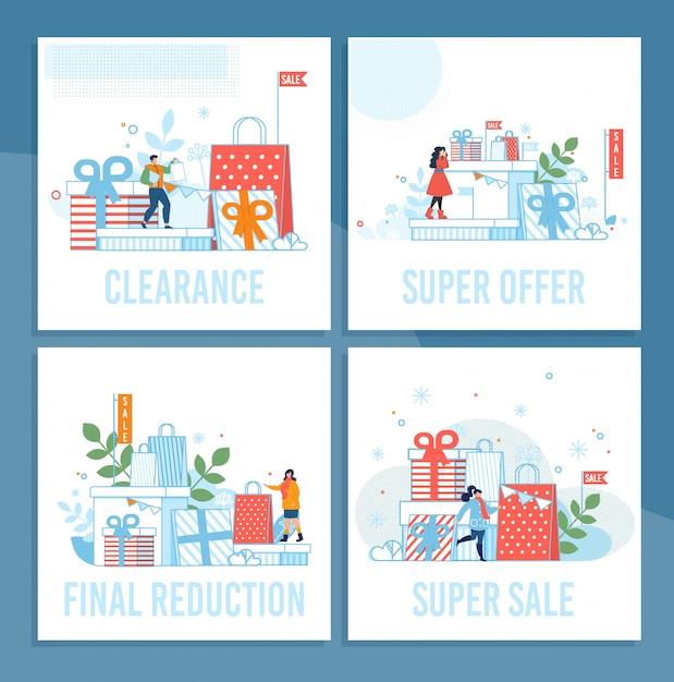 Wyprzedaż w święta zimowe zestaw kart z kreskówek Premium Wektorów