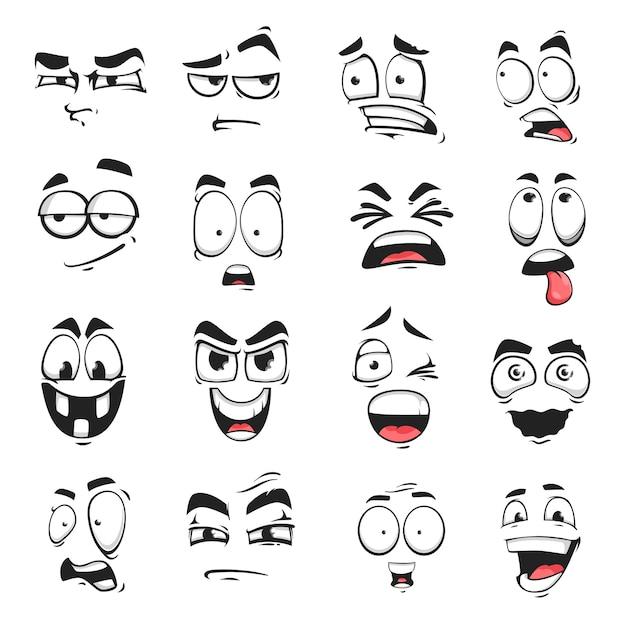 Wyraz Twarzy Na Białym Tle Ikony Wektorowe, Kreskówka śmieszne Emotikony Podejrzane, Przestraszone I Zszokowane, Uśmiechnięte, Uśmiechnięte Lub Szalone Premium Wektorów