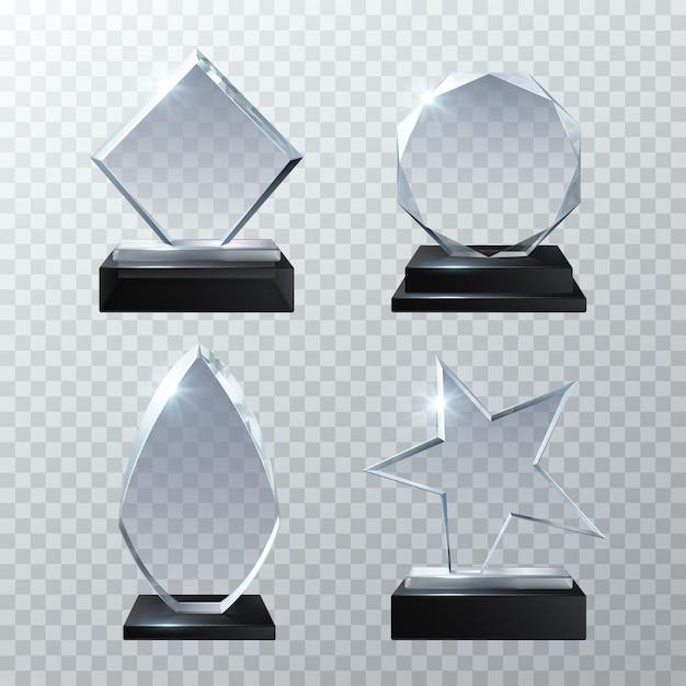 Wyraźne szklane trofeum nagrody na przezroczystym zestawie. błyszcząca deska i jasny panel trofeum ilustracja Premium Wektorów