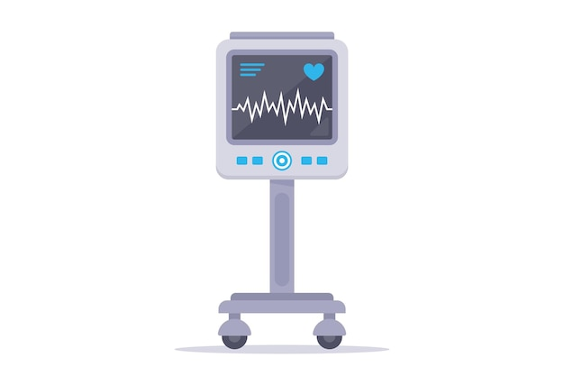 Wyrób Medyczny Do Monitorowania Serca Pacjenta. Płaska Ilustracja Na Białym Tle. Premium Wektorów