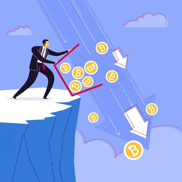 Wyrzuć oszczędność waluty bitcoin Premium Wektorów