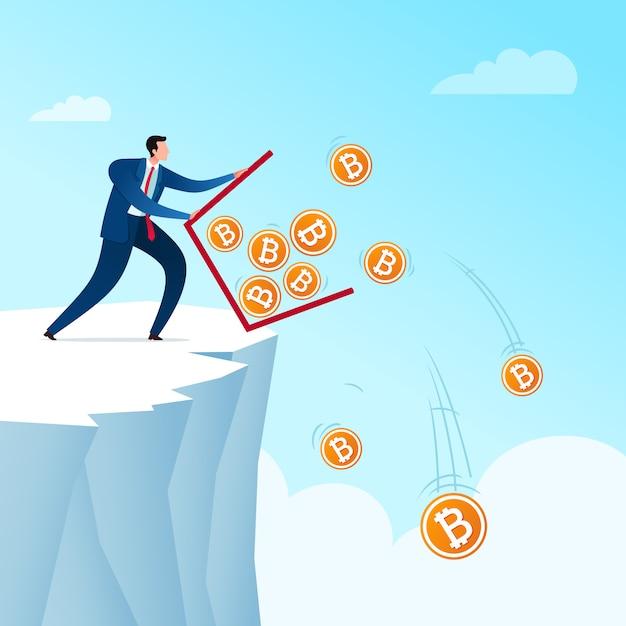 Wyrzuć oszczędności walutowe bitcoinów Premium Wektorów