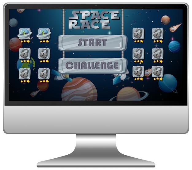 Wyścig Kosmiczny Gra Misji Na Ekranie Komputera Darmowych Wektorów