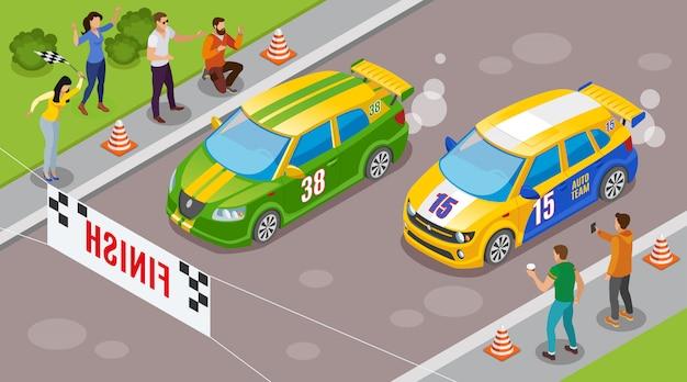 Wyścigi Sportowe Z Samochodami Sportowymi Na Początku Symbole Izometryczny Darmowych Wektorów