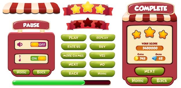 Wyskakujący ekran menu ukończ poziom i pauza z gwiazdkami, ładowaniem i przyciskiem Premium Wektorów