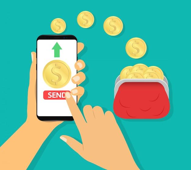 Wyślij Pieniądze W Portfelu. Płatności Mobilne, Transakcje Finansowe. Premium Wektorów