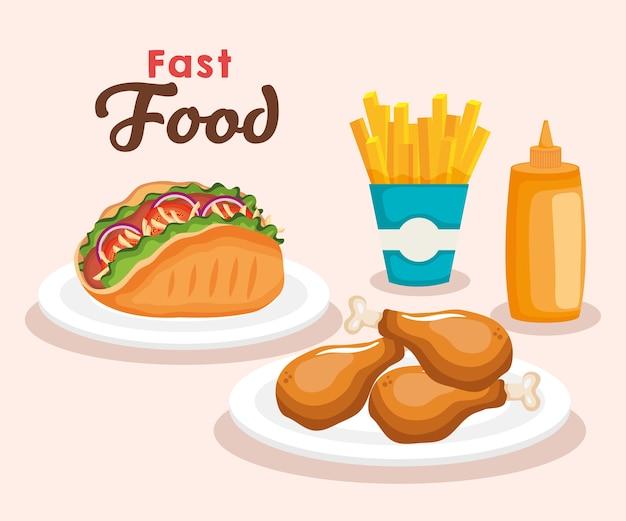 Wyśmienicie Fast Food Ikon Wektorowy Ilustracyjny Projekt Premium Wektorów