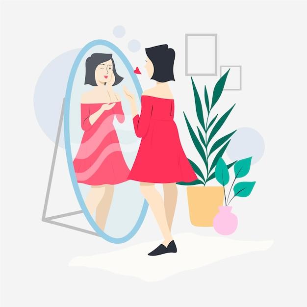 Wysoka Samoocena Ilustracja Z Kobietą I Lustrem Premium Wektorów