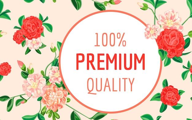 Wysokiej Jakości Baner Camellia, Styl Kreskówki Premium Wektorów