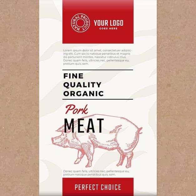 Wysokiej Jakości Ekologiczna Wieprzowina. Streszczenie Opakowania Lub Etykiety Mięsa. Darmowych Wektorów