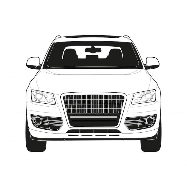 Wysokiej klasy samochód w rysunku technicznym Premium Wektorów