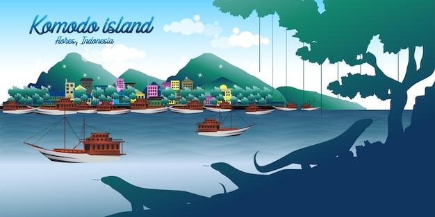 Wyspa komodo w indonezji Premium Wektorów