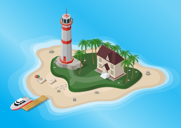Wyspa Turystyczna Z Palmami, Latarnią Morską I Domem Z Jachtem Na Morzu. Premium Wektorów