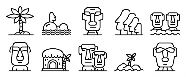 Wyspa wielkanocna zestaw ikon, styl konturu Premium Wektorów