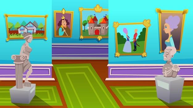 Wystawa malarstwa współczesnego i starożytnego Premium Wektorów