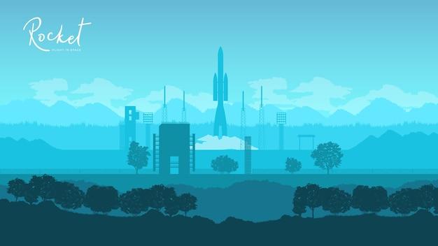 Wystrzelenie Rakiety Sojuz Z Wyrzutni Kosmodromu Bajkonur Premium Wektorów