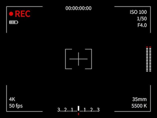 Wyświetlacz Aparatu. Nagrywanie W Wizjerze Ogniskowanie Kamery Wideo Zrzut Ekranu Film Film Linie Przeglądarka Ramek Przeglądarka, Czarny Szablon Premium Wektorów