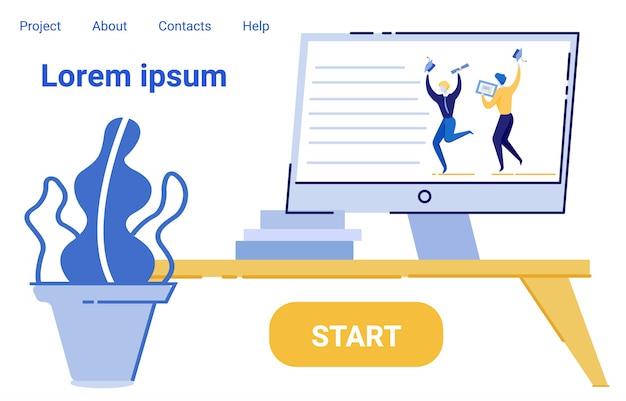 Wyświetlacz komputera z internetowym treningiem na odległość. Premium Wektorów