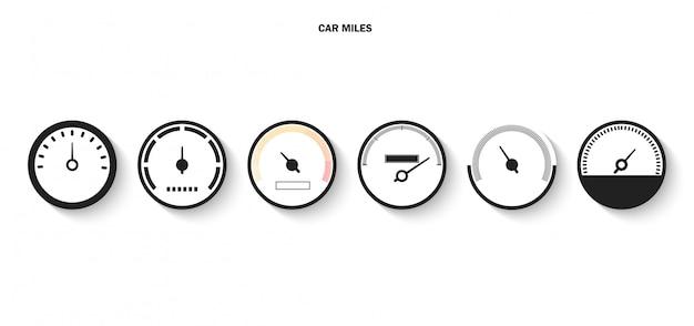 Wyświetlacz ze skalą i strzałką ikona prędkościomierza Premium Wektorów
