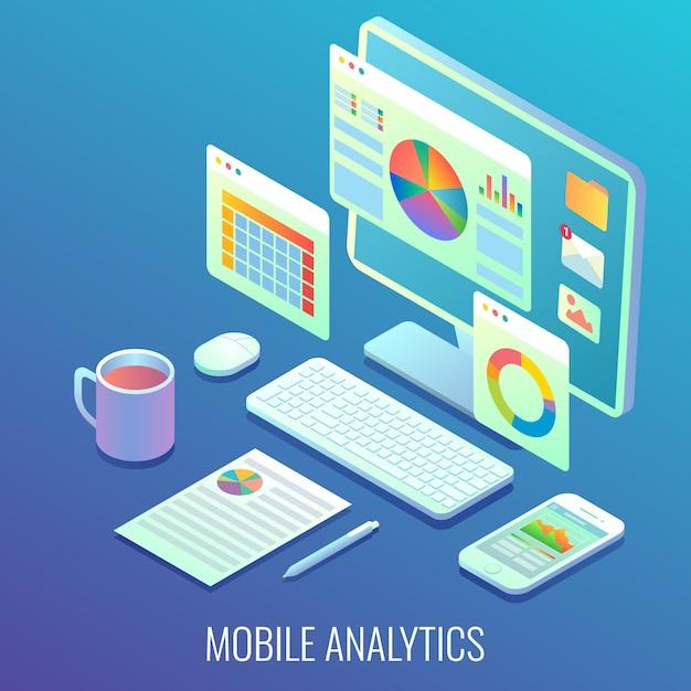 Wyświetlanie Mobilnej Analityki Internetowej Premium Wektorów