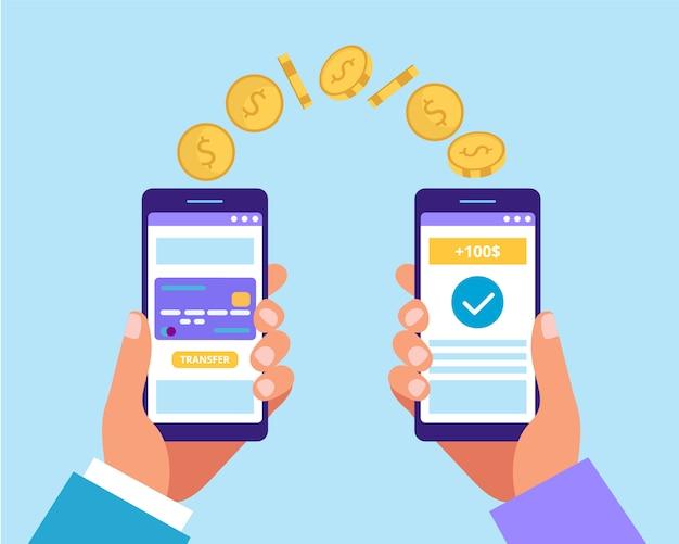 Wysyłanie Pieniędzy Za Pośrednictwem Smartfona. Wniosek O Płatność. Ilustracja W Stylu Płaski Premium Wektorów