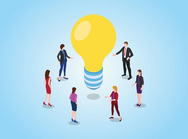 Wyszukaj Lub Znajdź Pomysły Lub Koncepcję Rozwiązania Dzięki Debacie Dyskusyjnej Zespołu Na Spotkaniu Premium Wektorów