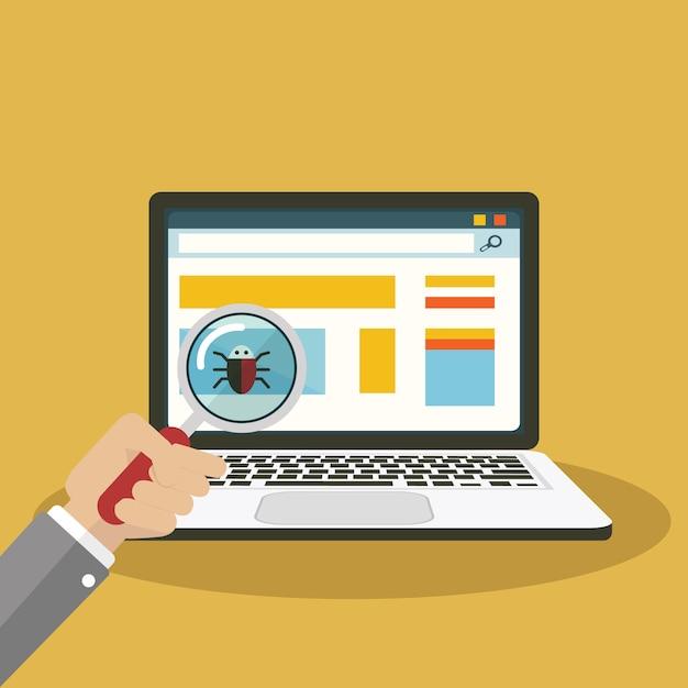 Wyszukiwanie błędów, szkło powiększające wirusa z komputerem Premium Wektorów