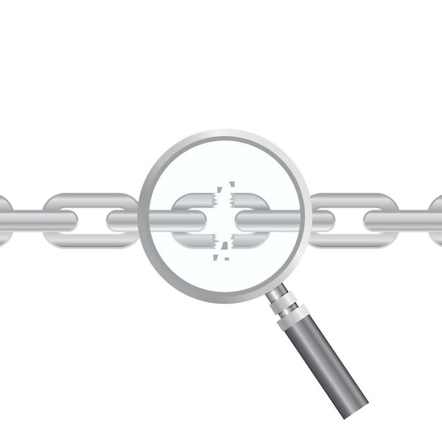 Wyszukiwanie Podatności. Optymalizacja Seo, Analityka Internetowa, Elementy Procesu Programowania. Koncepcja Bezpieczeństwa It. Ilustracja. Lupa I Podarty łańcuch Premium Wektorów