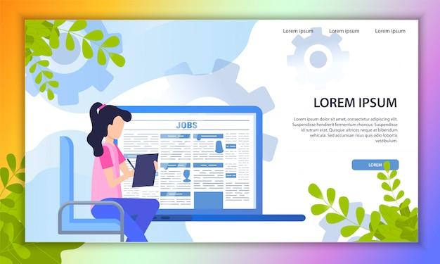 Wyszukiwanie pracy online service flat vector website Premium Wektorów