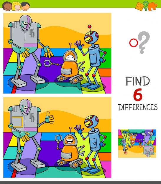 Wyszukiwanie Różnic Między Postaciami Robotów Premium Wektorów