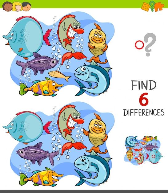 Wyszukiwanie Różnic Między Zabawnymi Postaciami Ryb Premium Wektorów