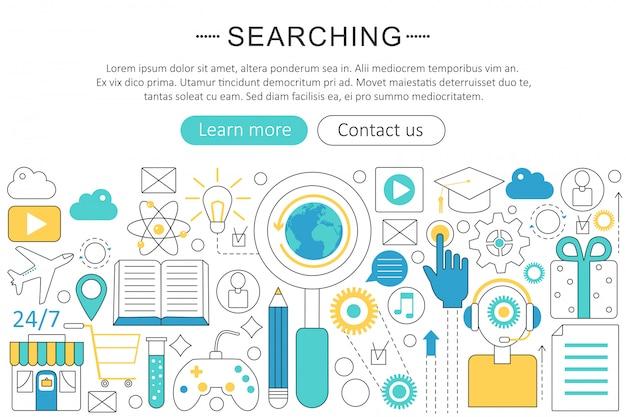 Wyszukiwanie, wyszukiwanie koncepcji płaskiej linii Premium Wektorów