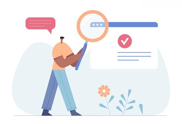 Wyszukiwanie, Zasoby Ludzkie, Koncepcja Rekrutacji Strony Internetowej, Baner. Człowiek Z Lupą. Premium Wektorów