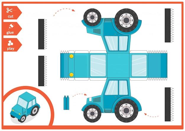 Wytnij I Przyklej Papierową Ilustrację Samochodową. Premium Wektorów