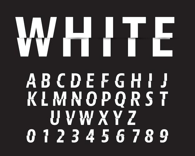 Wytnij szablon czcionki alfabetu. projekt cięcia liter i cyfr. Premium Wektorów