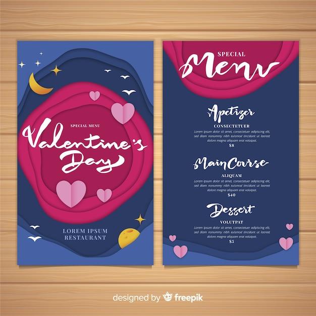 Wytnij szablon menu valentine Darmowych Wektorów