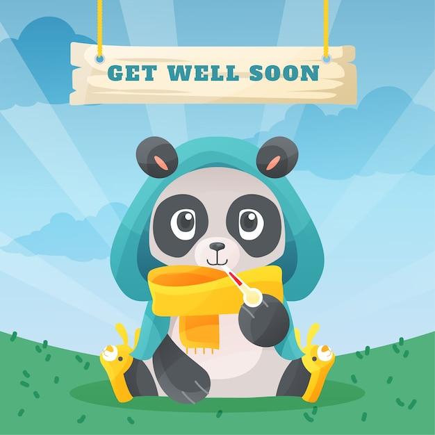 Wyzdrowiej Wkrótce Z Misiem Panda Darmowych Wektorów