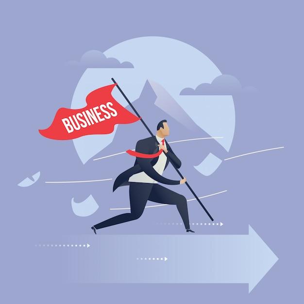 Wyzwania biznesowe dla ilustracji sukcesu Premium Wektorów