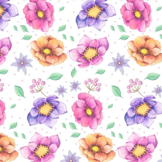 Wzór Akwarela Kolorowe Kwiaty Darmowych Wektorów