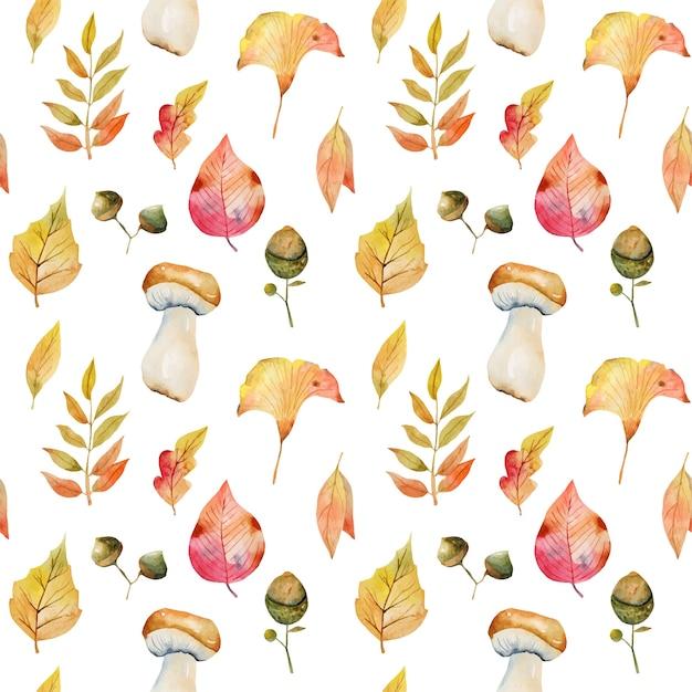 Wzór Akwarela Liści Jesienią, Liście Miłorzębu Japońskiego, Gałęzie Jarzębiny, żołędzie I Białe Grzyby Premium Wektorów