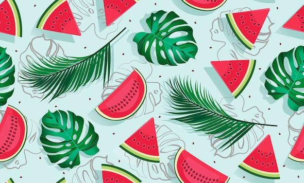 Wzór arbuzy z tropikalny liść, kawałek arbuza Premium Wektorów